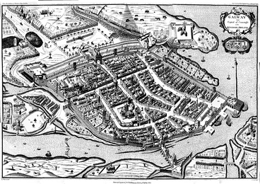 The heavily fortified city of Galway in 1651. It was the last Irish stronghold to fall to the Parliamentarians, surrendering in 1652.