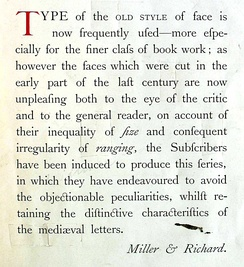 "A promotional image for Miller & Richard's ""Old Style"". As the text says, the design was intended to capitalise on a fashion of interest in eighteenth-century ""old style"" designs, while offering a more delicate and regular structure reflecting how typecutting had evolved towards the Didone style since then. Bookman evolved from bolder versions of this design.[b]"