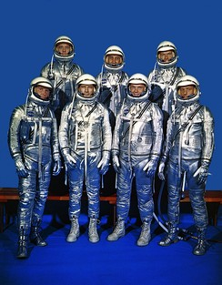 The Mercury Seven astronauts. Front row, left to right, Wally Schirra, Deke Slayton, John Glenn, and Carpenter; back row, Alan Shepard, Gus Grissom and Gordon Cooper.