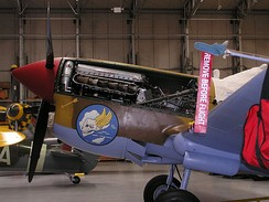 The Fighter Collection's P-40F G-CGZP, showing Merlin 500 engine.