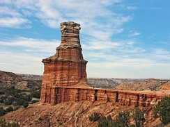 Lighthouse pinnacle in Palo Duro Canyon: The canyon system is located south of the city.