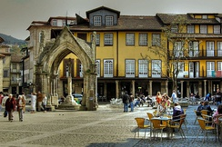 The Oliveira square, in the historical center of Guimarães, with the Padrão do Salado on the left
