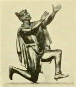 Roman bronze figurine depicting a Germanic man adorned with a Suebian knot engaged in prayer. (Bibliothèque Nationale, Paris)