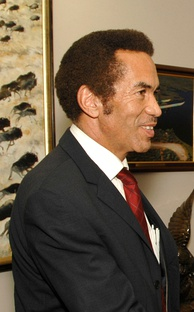 Former President Ian Khama of Botswana, son of Motswana chief Sir Seretse Khama and Englishwoman Ruth Williams Khama
