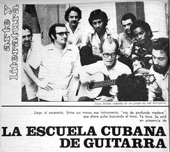 Renowned Cuban guitar professor Isaac Nicola surrounded by his disciples. From left to right Flores Chaviano, Efraín Amador, Carlos Molina, Mario Daly, Armando Rodríguez Ruidíaz, Roberto Kessel and José Angel Pérez Puentes.
