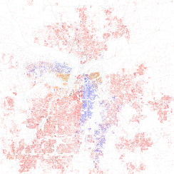 Map of racial distribution in Kansas City, 2010 U.S. Census. Each dot is 25 people: White, Black, Asian, Hispanic or Other (yellow)