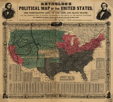 This 1856 map shows slave states (gray), free states (pink), U.S. territories (green), and Kansas in center (white).