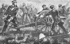 Rivière attempts to rescue a bogged French cannon at Paper Bridge