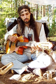 Contemporary hippie at the Rainbow Gathering in Russia, 2005