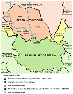 Proclaimed borders of Serbian Vojvodina at the May Assembly (1848) and autonomous Ottoman Principality of Serbia