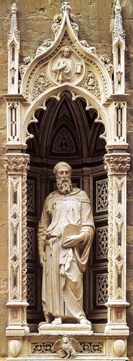 Saint Mark, 1411–1413, by Donatello (Orsanmichele, Florence).