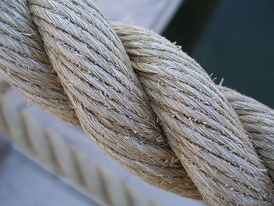 Three-strand twisted natural fiber rope