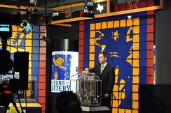 A drawing being held at the Texas Lottery's television studio