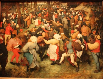 The Wedding Dance (1566), by Pieter Bruegel the Elder. In Renaissance Flanders, people of all social classes wore red at celebrations. The dye came from the root of the madder plant, which tended toward orange.