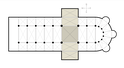 Latin cross floor plan. Shaded area is the transept