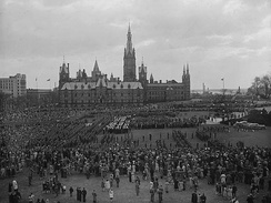 Victory in Europe Day celebrations held on Parliament Hill, May 8, 1945