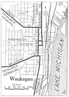 Map of Waukegan in 1920