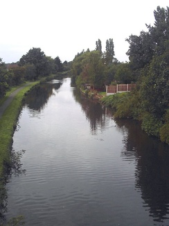 The Leeds and Liverpool Canal at Maghull looking towards Leeds from Westway Bridge