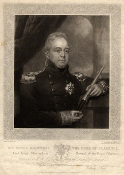 William, as Lord High Admiral, print by William James Ward, after Abraham Wivell's painting, first published in 1827