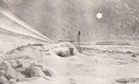 Artist's impression: A full moon in a dark sky; on the ground a mound of snow with a small square opening indicates the hut, with an upturned sledge standing outside. The surrounding area is all desolate snow and ice fields.