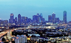 Skyline of Dallas from the Stemmons Corridor, just northwest of Downtown Dallas