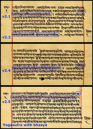 Some pages from a historic Yogasutra manuscript (Sanskrit, Devanagari). The verses are highlighted and are embedded inside the bhasya (commentary).