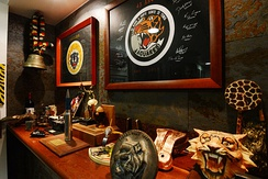 "Heritage room of the 301 Squadron ""Jaguares"", with its trophies, insignia and other memorabilia"