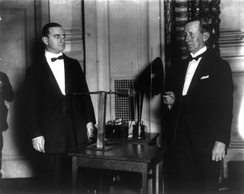 American electrical engineer Alfred Norton Goldsmith and Marconi on 26 June 1922.