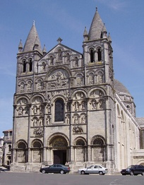 Angoulême Cathedral, France. The facade here, richly decorated with architectonic and sculptural forms, has much in common with that at Empoli in that it screens the form of the building behind it.