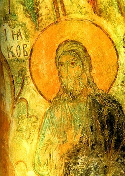 Fresco of Saint James the Less in the Orthodox Church of Vladimir, Russia. 12th century.