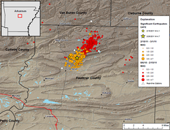 Guy-Greenbrier earthquake swarm: map of epicentres for the period 2010-08-06 to 2011-03-01.[19]