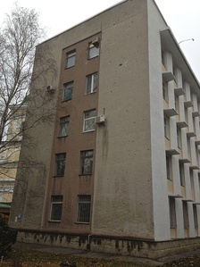Building still showing damage from the brief fighting in Bendery during Transnistria's war for independence from Moldova