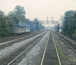 A train on the CNJ's mainline near Plainfield, New Jersey in 1969