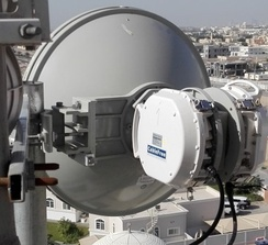 CableFree 2+0 XPIC Microwave Link showing OMT and two ODUs connected to H & V polarity ports