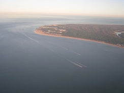 Cape Henry from the air, facing to the east-southeast over the Atlantic Ocean and the gateway to the Chesapeake Bay