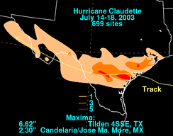 Rainfall totals from Claudette