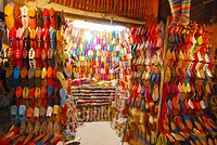 Leather goods store at the souk in Marrakesh