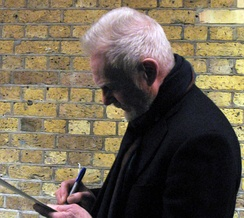 Jacobi signing autographs after his performance in Twelfth Night, London, 2009