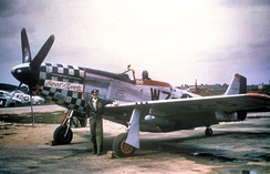 "A P-51D Mustang aircraft - WZ-S (AAF Ser. No. 44-72218), named ""Sweet and Lovely"", of the 78th Fighter Group, Duxford. The aircraft was piloted by Lieutenant Thomas V. Thain."
