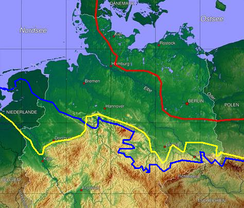 Ice age map of northern Germany and its northern neighbours. Red: maximum limit of Weichselian glacial; yellow: Saale glacial at maximum (Drenthe stage); blue: Elster glacial maximum glaciation.