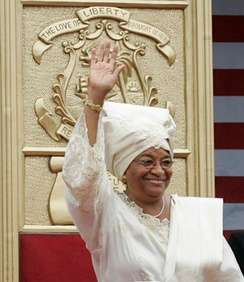 Sirleaf at her inauguration in Monrovia