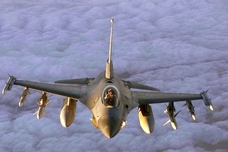 A United States Air Force F-16 Fighting Falcon in flight