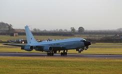 The first Royal Air Force RC-135W arrives at RAF Waddington in November 2013.
