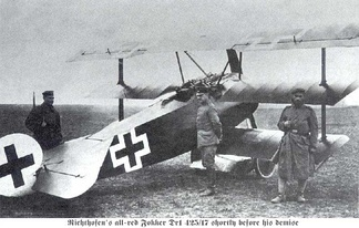 "The Fokker triplane belonging to Manfred von Richthofen (the ""Red Baron"")"