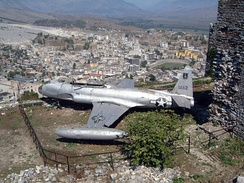 United States Air Force Lockheed RT-33 reconnaissance plane forced down in December 1957, on display in Gjirokastër, Albania