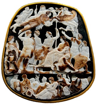The deified Augustus hovers over Tiberius and other Julio-Claudians in the Great Cameo of France