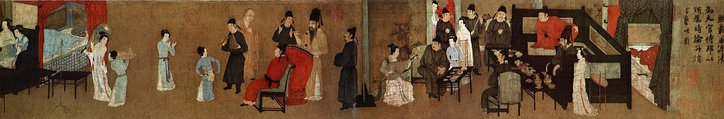 A half-section of the 12th-century South Tang Dynasty version of Night Revels of Han Xizai, original by Gu Hongzhong. The painting portrays servants, musicians, monks, children, guests, and hosts all in a single social environment. It serves as an in-depth look into the Chinese social structure of the time.