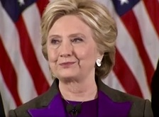 Photograph of Clinton delivering her concession speech