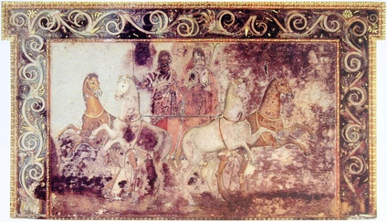 A fresco showing Hades and Persephone riding in a chariot, from the tomb of Queen Eurydice I of Macedon at Vergina, Greece, 4th century BC