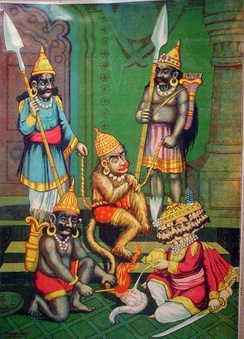 Ravana burns Hanuman's tail.